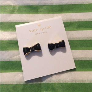 Kate Spade Black & Gold Bow Earrings